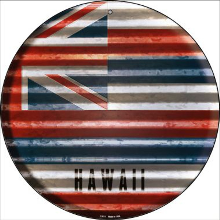 Hawaii Flag Corrugated Effect Novelty Circular Sign C-921