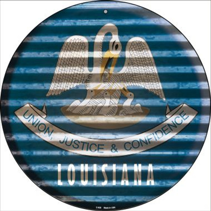 Louisiana Flag Corrugated Effect Novelty Circular Sign C-928