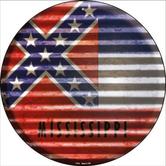 Mississippi Flag Corrugated Effect Novelty Circular Sign C-934