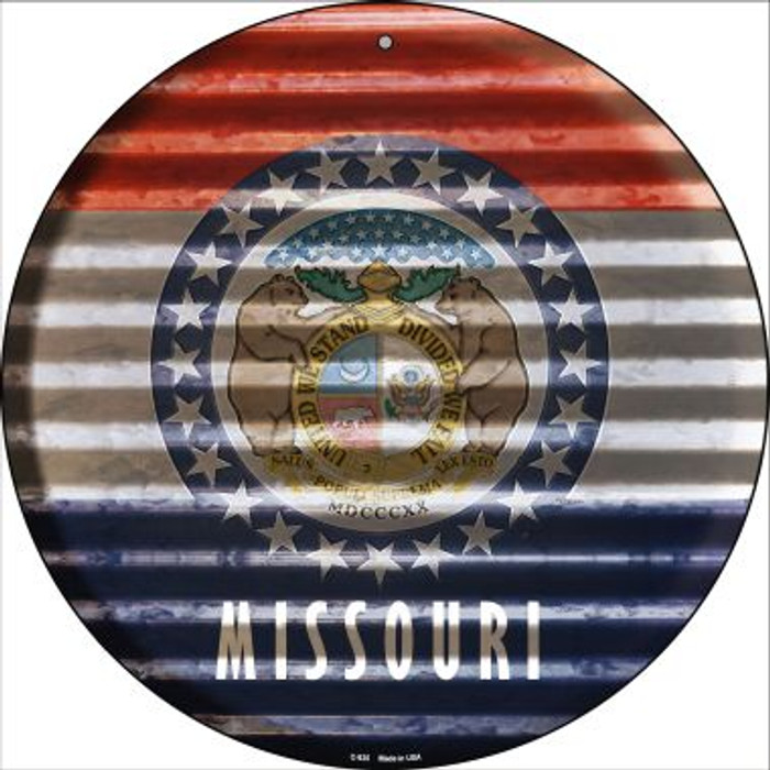 Missouri Flag Corrugated Effect Novelty Circular Sign C-935