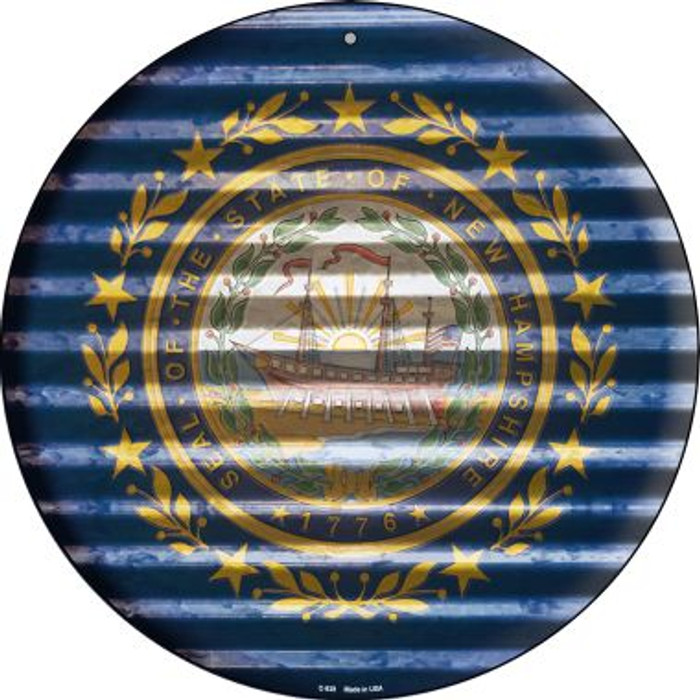 New Hampshire Flag Corrugated Effect Novelty Circular Sign C-939