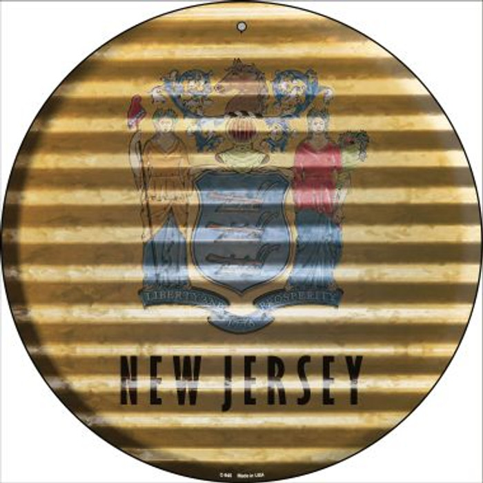New Jersey Flag Corrugated Effect Novelty Circular Sign C-940