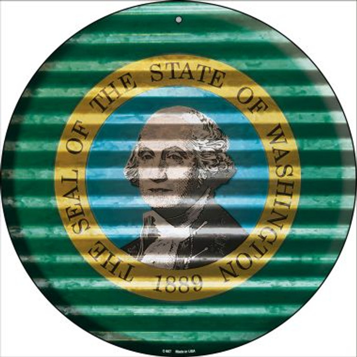 Washington Flag Corrugated Effect Novelty Circular Sign C-957