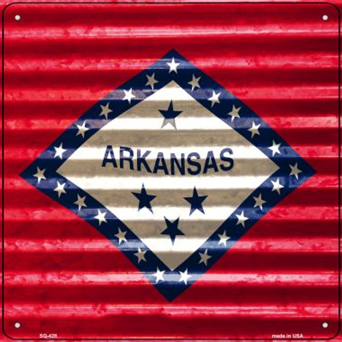 Arkansas Flag Corrugated Effect Novelty Square Sign SQ-428