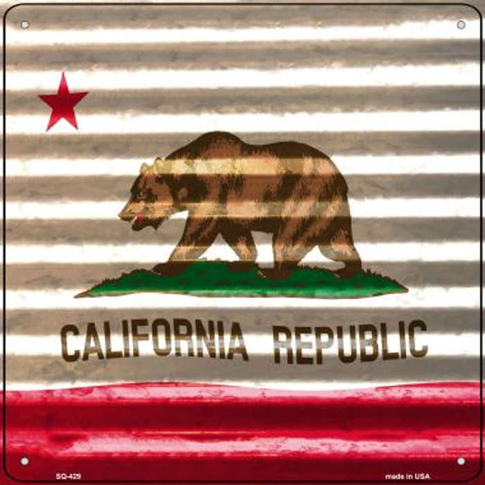 California Flag Corrugated Effect Novelty Square Sign SQ-429