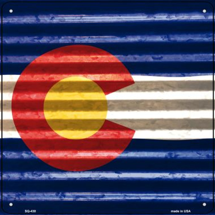 Colorado Flag Corrugated Effect Novelty Square Sign SQ-430