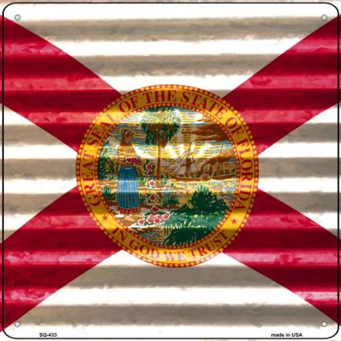 Florida Flag Corrugated Effect Novelty Square Sign SQ-433