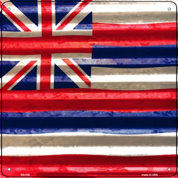 Hawaii Flag Corrugated Effect Novelty Square Sign SQ-435