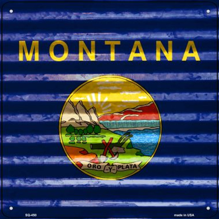 Montana Flag Corrugated Effect Novelty Square Sign SQ-450