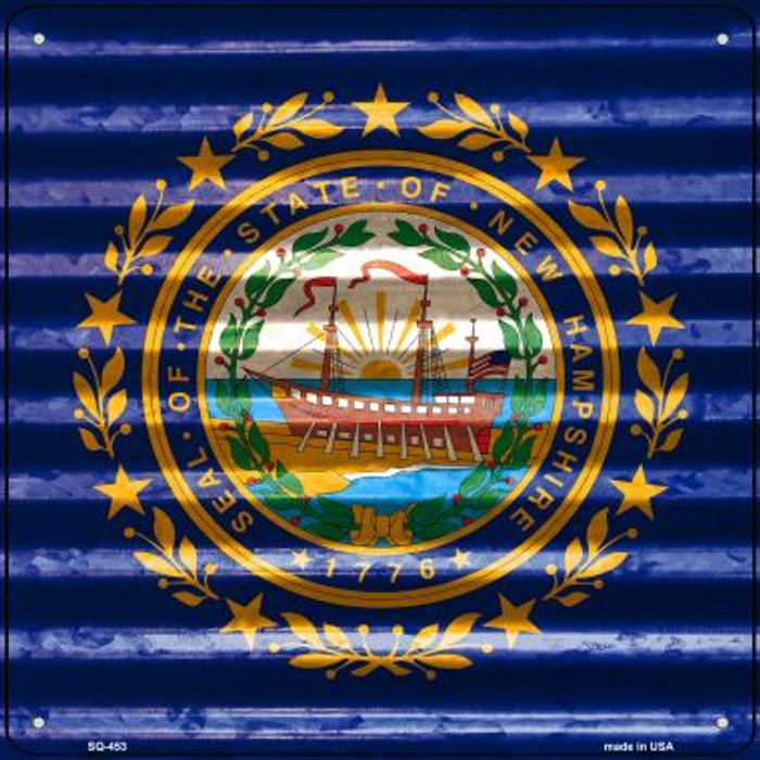 New Hampshire Flag Corrugated Effect Novelty Square Sign SQ-453