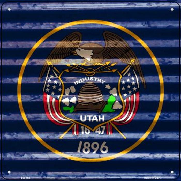 Utah Flag Corrugated Effect Novelty Square Sign SQ-468
