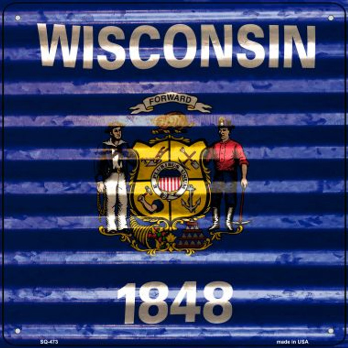 Wisconsin Flag Corrugated Effect Novelty Square Sign SQ-473