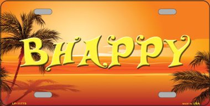 Be Happy Beach Scene Novelty License Plate LP-11775