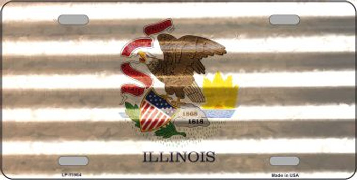 Illinois Corrugated Flag Novelty License Plate LP-11954