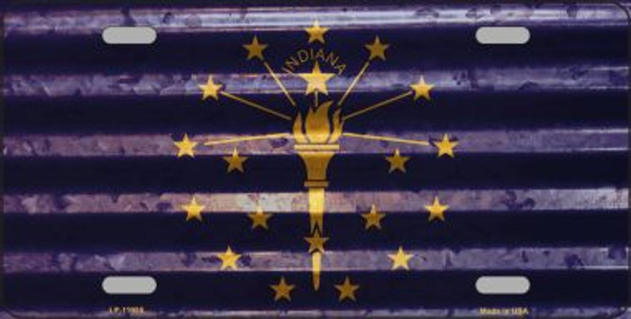 Indiana Corrugated Flag Novelty License Plate LP-11955