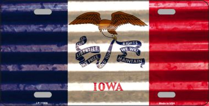 Iowa Corrugated Flag Novelty License Plate LP-11956