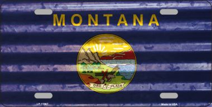 Montana Corrugated Flag Novelty License Plate LP-11967