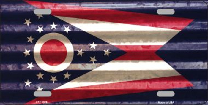 Ohio Corrugated Flag Novelty License Plate LP-11976