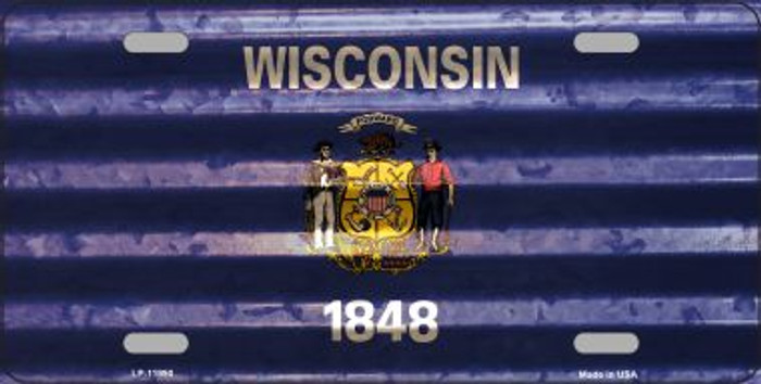Wisconsin Corrugated Flag Novelty License Plate LP-11990