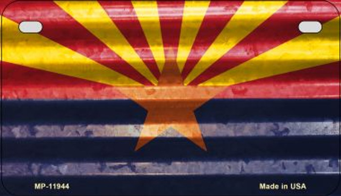 Arizona Corrugated Flag Novelty Motorcycle Plate MP-11944