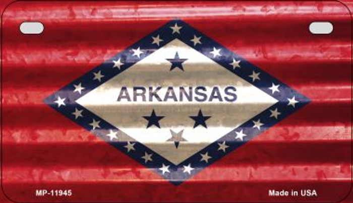 Arkansas Corrugated Flag Novelty Motorcycle Plate MP-11945