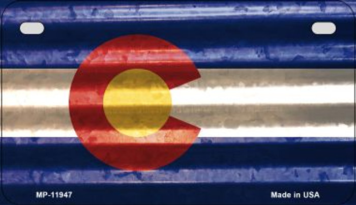 Colorado Corrugated Flag Novelty Motorcycle Plate MP-11947