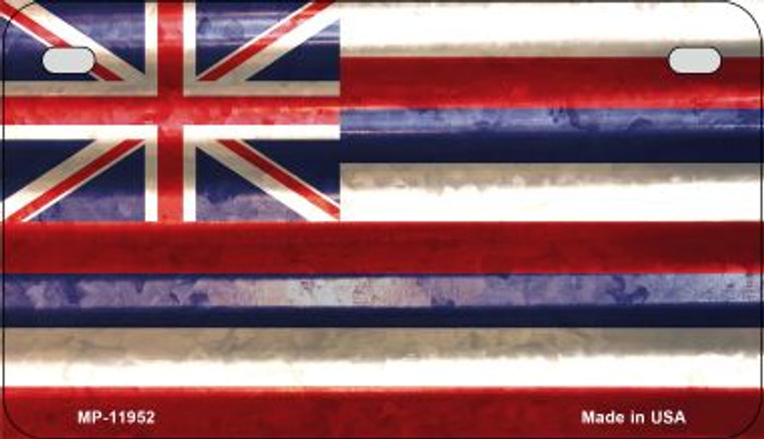 Hawaii Corrugated Flag Novelty Motorcycle Plate MP-11952