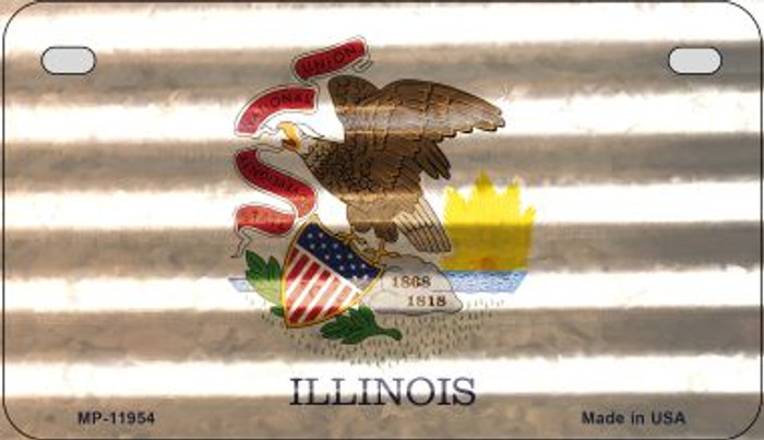 Illinois Corrugated Flag Novelty Motorcycle Plate MP-11954