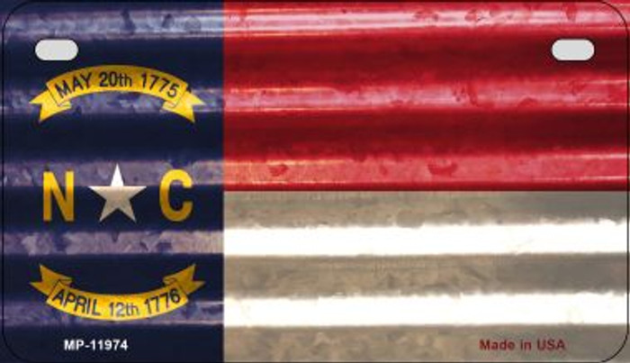 North Carolina Corrugated Flag Novelty Motorcycle Plate MP-11974