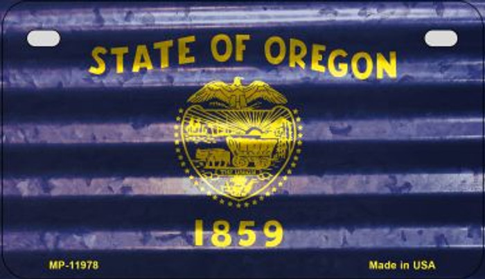Oregon Corrugated Flag Novelty Motorcycle Plate MP-11978
