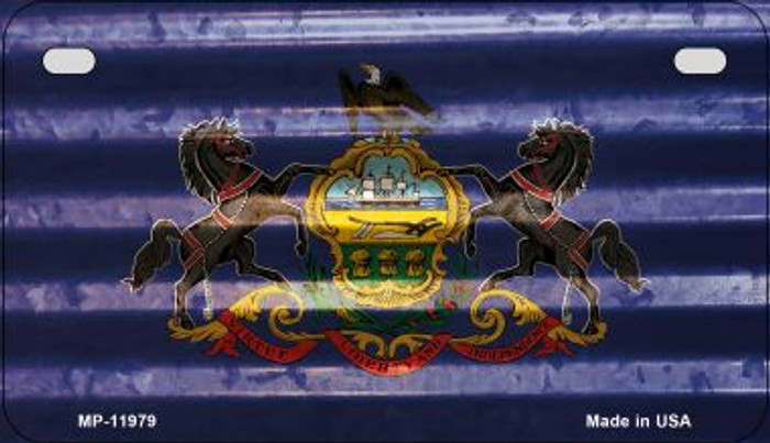 Pennsylvania Corrugated Flag Novelty Motorcycle Plate MP-11979