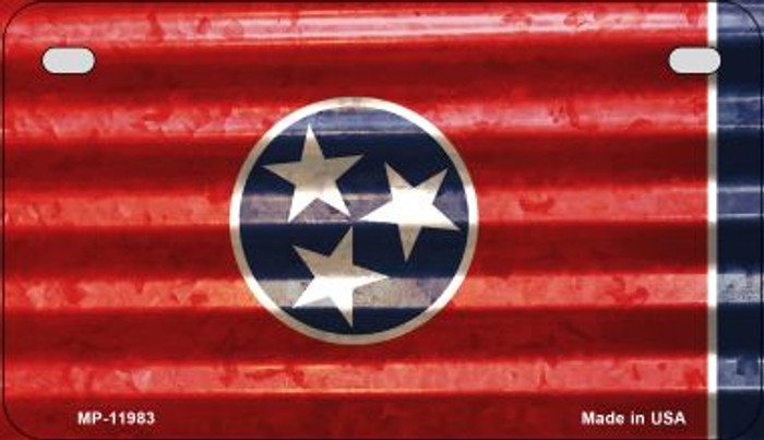 Tennessee Corrugated Flag Novelty Motorcycle Plate MP-11983