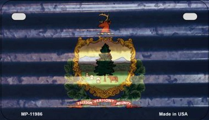 Vermont Corrugated Flag Novelty Motorcycle Plate MP-11986