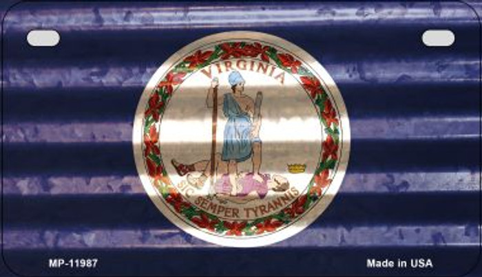 Virginia Corrugated Flag Novelty Motorcycle Plate MP-11987