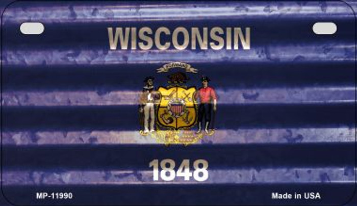 Wisconsin Corrugated Flag Novelty Motorcycle Plate MP-11990