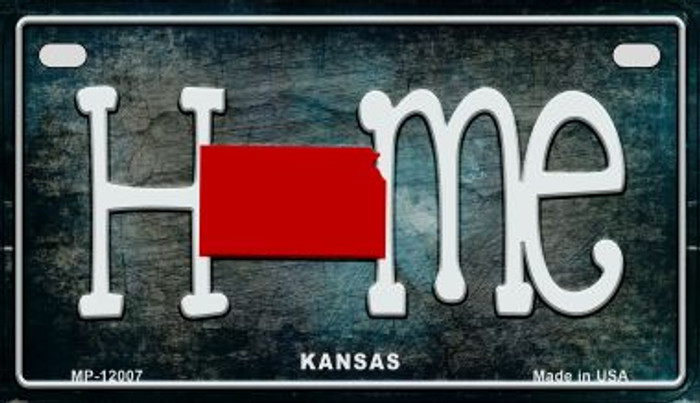 Kansas Home State Outline Novelty Motorcycle Plate MP-12007
