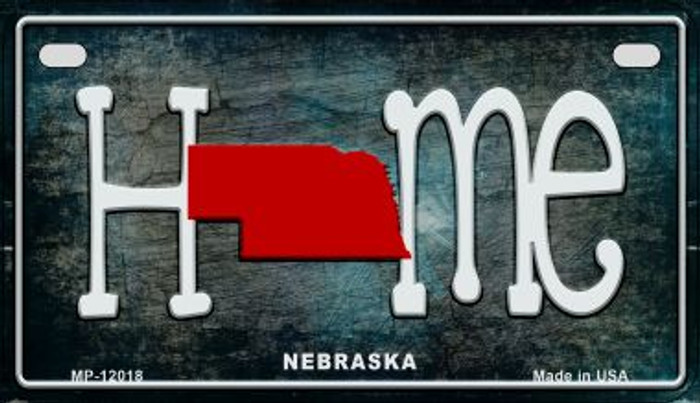 Nebraska Home State Outline Novelty Motorcycle Plate MP-12018