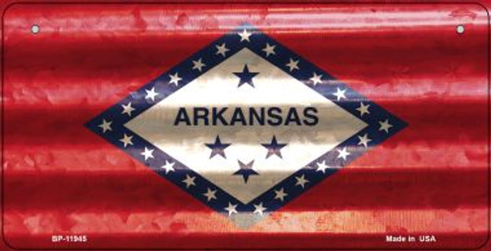Arkansas Corrugated Flag Novelty Bicycle Plate BP-11945