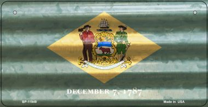 Delaware Corrugated Flag Novelty Bicycle Plate BP-11949