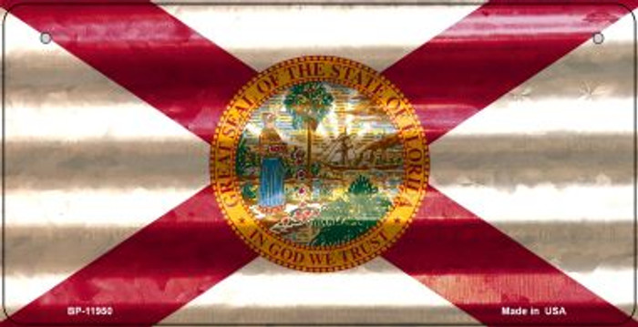 Florida Corrugated Flag Novelty Bicycle Plate BP-11950