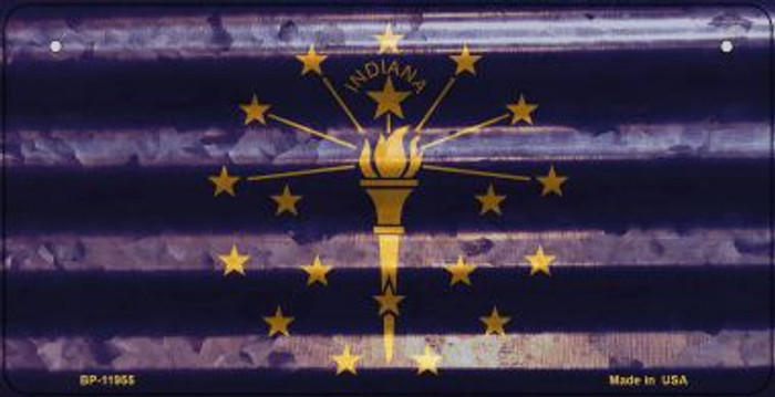 Indiana Corrugated Flag Novelty Bicycle Plate BP-11955