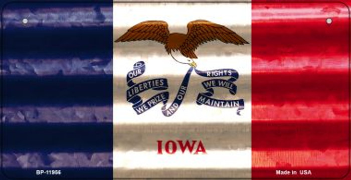 Iowa Corrugated Flag Novelty Bicycle Plate BP-11956