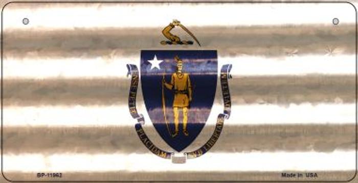 Massachusetts Corrugated Flag Novelty Bicycle Plate BP-11962