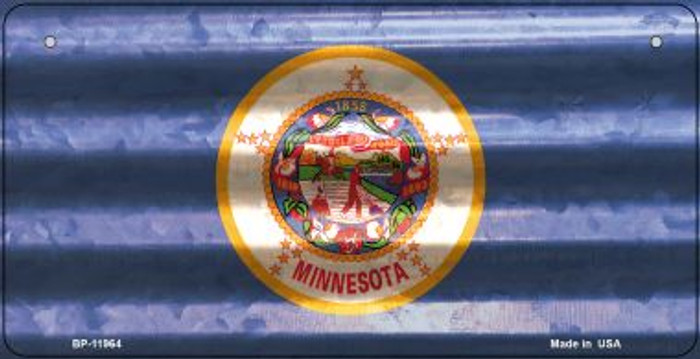 Minnesota Corrugated Flag Novelty Bicycle Plate BP-11964
