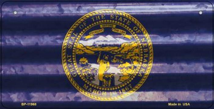 Nebraska Corrugated Flag Novelty Bicycle Plate BP-11968