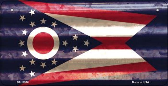 Ohio Corrugated Flag Novelty Bicycle Plate BP-11976