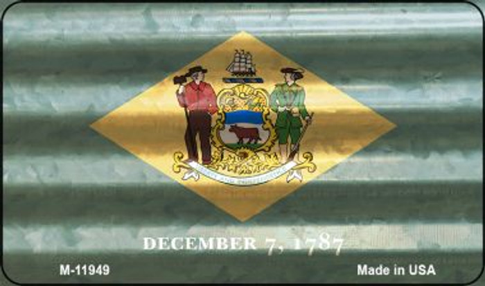 Delaware Corrugated Flag Novelty Magnet M-11949
