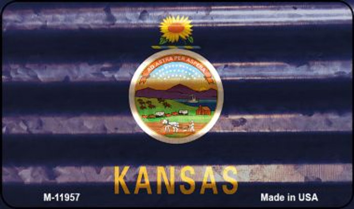 Kansas Corrugated Flag Novelty Magnet M-11957