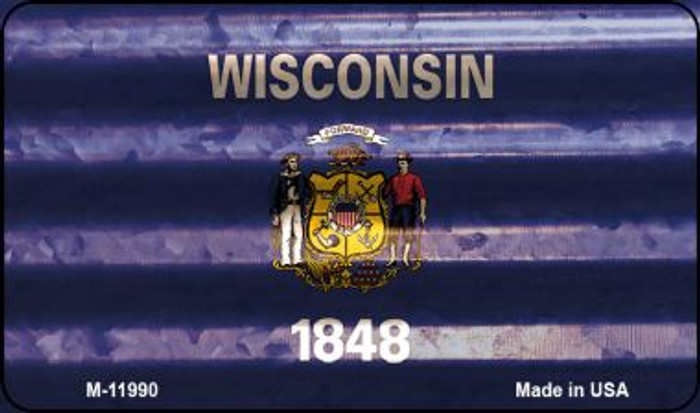 Wisconsin Corrugated Flag Novelty Magnet M-11990