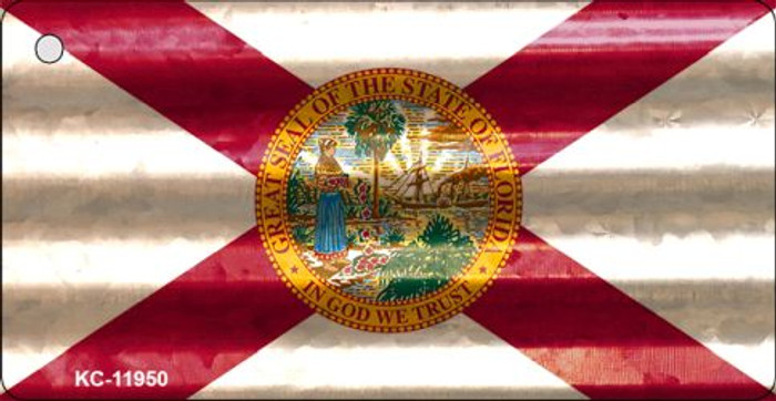 Florida Corrugated Flag Novelty Key Chain KC-11950